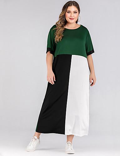 levne Maxi šaty-Dámské Základní A Line Šaty - Barevné bloky, Patchwork Maxi