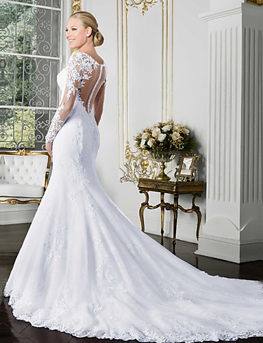 cheap Wedding Dresses-Mermaid / Trumpet Bateau Neck Chapel Train Lace / Tulle / Lace Over Satin Long Sleeve Beautiful Back / Illusion Sleeve Wedding Dresses with Lace / Appliques 2020 / Bell Sleeve