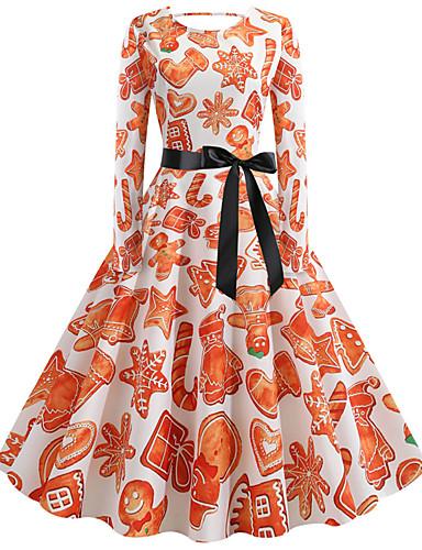 levne Šaty velkých velikostí-Dámské Větší velikosti Párty Vintage Šik ven Pouzdro Šaty - Květinový, Plisé Tisk Délka ke kolenům Lodičkový