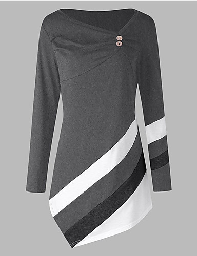 cheap Women's Tops-Women's Daily Weekend Basic / Street chic Tunic - Color Block Blue & White / Black & Red / Black & White, Pleated / Patchwork Black