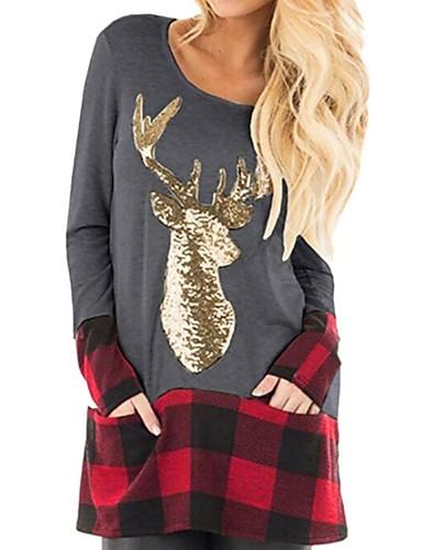 billige T-skjorter til damer-T-skjorte Dame - Ruter Svart