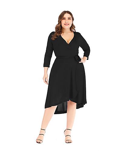 levne Šaty velkých velikostí-Dámské Základní Elegantní Swing Šaty - Jednobarevné Délka ke kolenům