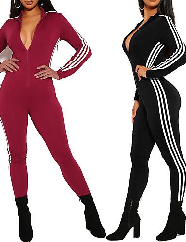 povoljno Odjeća za fitness, trčanje i jogu-Žene Kombinezon za vježbanje Cvijetni print Crn Crvena Yoga Trčanje Trening u teretani Kombinezon Dugih rukava Sport Odjeća za rekreaciju Prozračnost Ovlaživanje Quick dry Rastezljivo