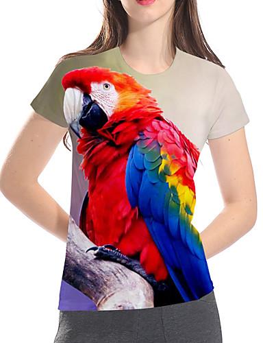billige T-skjorter til damer-T-skjorte Dame - 3D / Dyr / Tegneserie, Trykt mønster Grunnleggende / overdrevet Ugle Regnbue