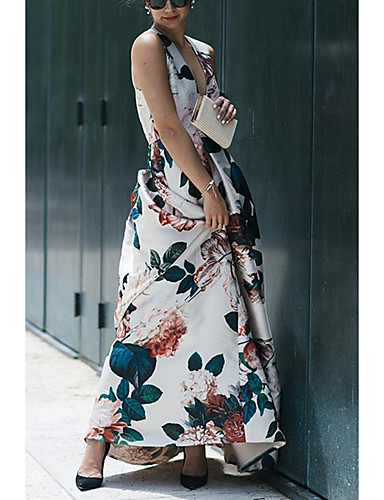 levne Maxi šaty-Dámské Elegantní Swing Šaty - Květinový, Šňůrky Maxi Rose