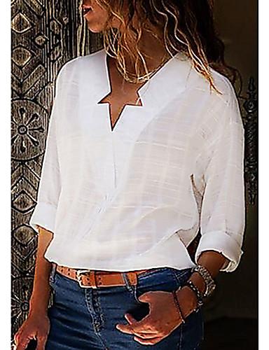 billige Bluser-Bomull V-hals Store størrelser Skjorte Dame - Ensfarget Gatemote Svart