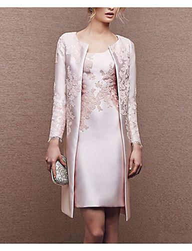 preiswerte Kleider für besondere Anlässe-Eng anliegend U-Ausschnitt Kurz / Mini Satin Brautmutterkleid mit Spitze durch LAN TING Express