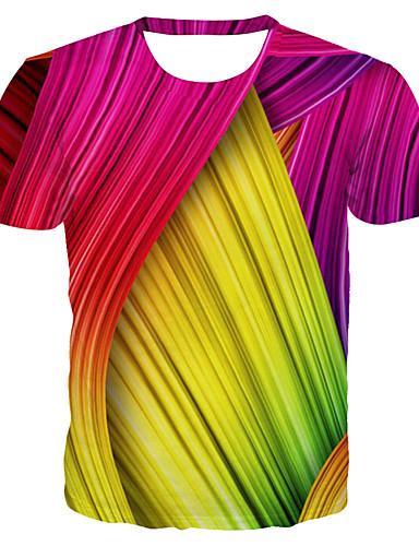 billige Dametopper-T-skjorte Dame - 3D / Regnbue / Grafisk, Trykt mønster Grunnleggende / overdrevet Magiske kuber Regnbue