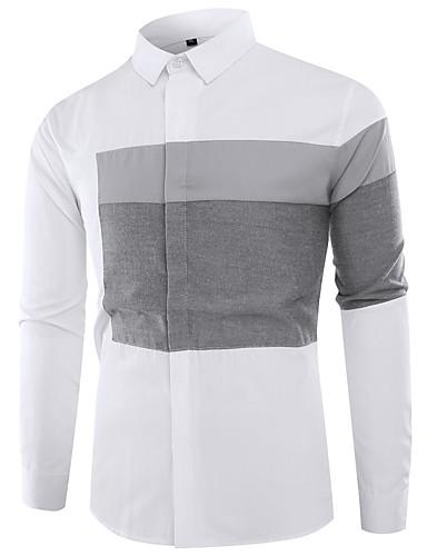 levne Pánské košile-Pánské - Barevné bloky Šik ven / Čínské vzory Košile, Patchwork Černá