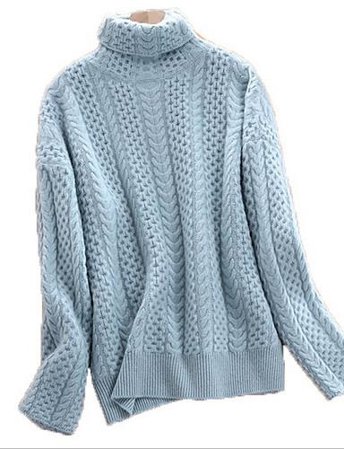 billige Dametopper-Dame Ensfarget Langermet Pullover Genserjumper, Rund hals Blå / Beige S / M / L