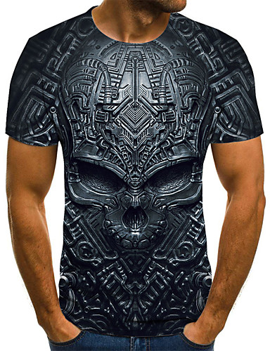 cheap Men's New Ins-Men's Plus Size 3D Graphic Print T-shirt Street chic Exaggerated Daily Holiday Round Neck Black / Blue / Purple / Red / Camel / Green / Royal Blue / Lavender / Short Sleeve / Skull