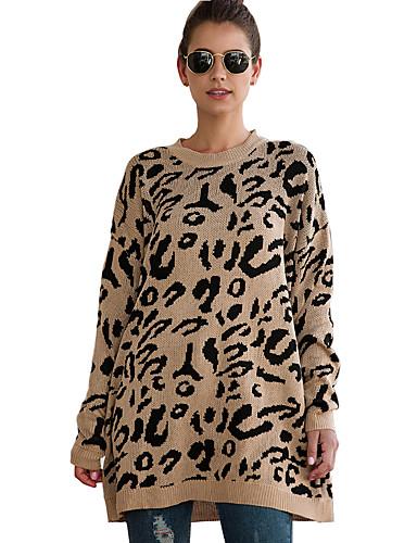 billige Dametopper-Dame Leopard Langermet Cardigan Genserjumper, Crew-hals Høst / Vinter Svart / Vin / Hvit S / M / L