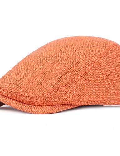 levne Pánské módní oblečení-Pánské Základní Baret-Jednobarevné Polyester Černá Oranžová Hnědá