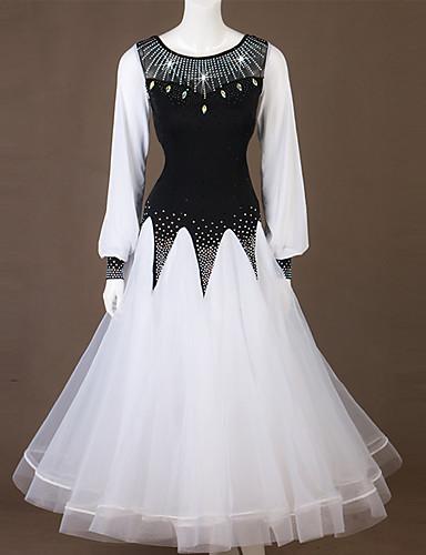 levne Shall We®-Standardní tance Šaty Dámské Výkon Spandex / Organza Rozdělení / Křišťály / Bižuterie Dlouhý rukáv Šaty