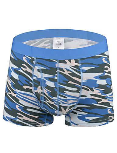 levne Pánské prádlo a plavky-Pánské Tisk Boxerky Bavlna Středně vysoký pas
