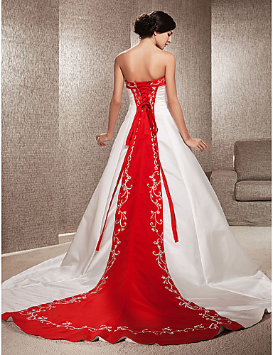 cheap Wedding Dresses-Ball Gown Strapless Sweep / Brush Train Satin Strapless Glamorous Plus Size / Red Wedding Dresses with Embroidery / Appliques 2020
