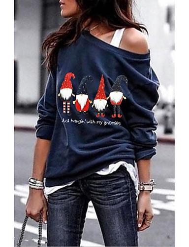 halpa T-paita-Naisten Piirretty T-paita Musta