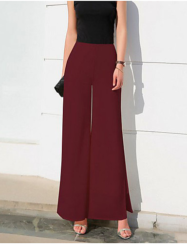 preiswerte Damen Hosen-Damen Grundlegend Chinos Hose - Solide Schwarz Weiß Blau XXXL XXXXL