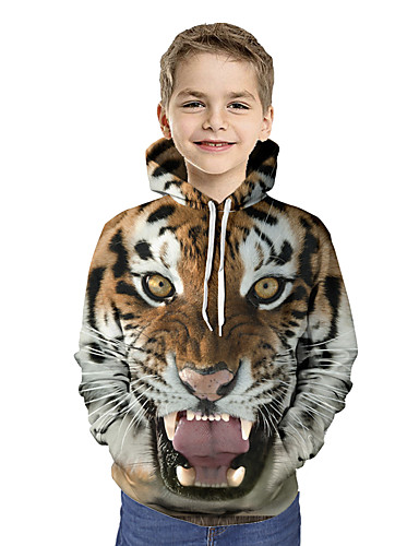 cheap Boys' Clothing-Kids Toddler Boys' Active Basic Tiger Geometric Print Color Block Print Long Sleeve Hoodie & Sweatshirt Brown