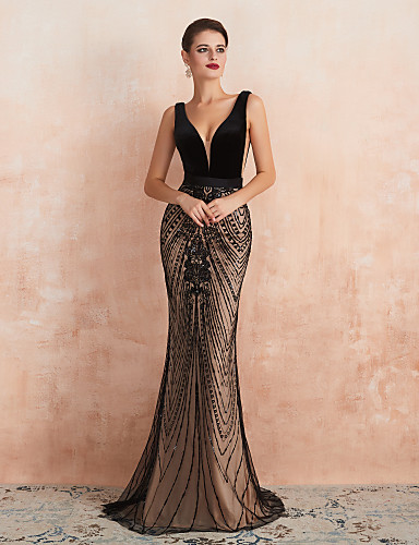 cheap Special Occasion Dresses-Mermaid / Trumpet Luxurious Black Wedding Guest Formal Evening Dress V Neck Sleeveless Sweep / Brush Train Velvet with Beading 2020