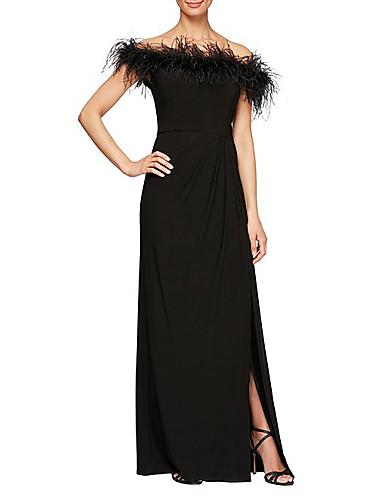 cheap Bridesmaid Dresses-Sheath / Column Elegant Formal Evening Dress Off Shoulder Short Sleeve Floor Length Stretch Satin with Feathers / Fur Draping 2020