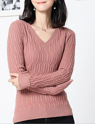 billige Dametopper-Dame Ensfarget Langermet Pullover Genserjumper, V-splitt Svart / Hvit / Rosa S / M / L