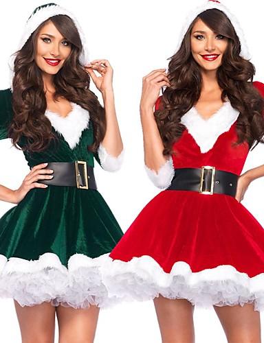 رخيصةأون أزياء عيد الميلاد المجيد-بابا نويل فساتين نسائي للبالغين حفلة تنكرية عيد الميلاد كريسماس عيد الميلاد مخمل فستان / حزام