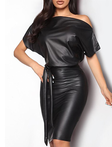 cheap Party Dresses-Women's Sheath Dress - Short Sleeve Solid Colored Off Shoulder Slim Black S M L XL