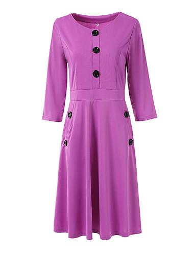 levne Pracovní šaty-Dámské Základní Pouzdro Šaty - Jednobarevné Midi