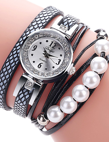 cheap Bracelet Watches-Women's Bracelet Watch Cubic Zirconia Casual Elegant Black White Pink PU Leather Chinese Quartz Black White Blushing Pink Casual Watch Imitation Diamond 1 pc Analog One Year Battery Life