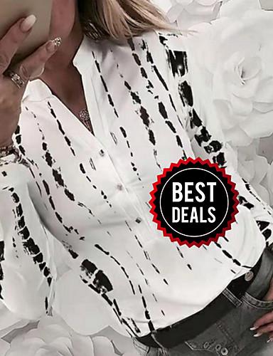 preiswerte Damen Oberteile-Damen Geometrisch Hemd, V-Ausschnitt Weiß