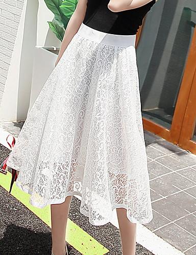 preiswerte Hosen & Röcke für Damen-Damen Lässig / Alltäglich A-Linie Röcke - Solide Spitzenbesatz Schwarz Weiß Blau Einheitsgröße