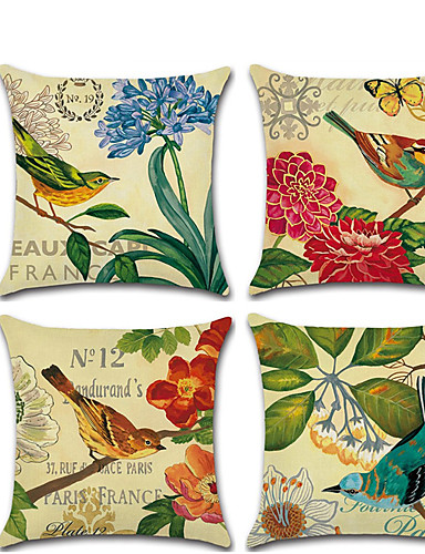 cheap Cushion Covers-Cushion Cover 4PC Linen Soft Decorative Square Throw Pillow Cover Cushion Case Pillowcase for Sofa Bedroom 45 x 45 cm (18 x 18 Inch) Superior Quality Mashine Washable Pack of 4
