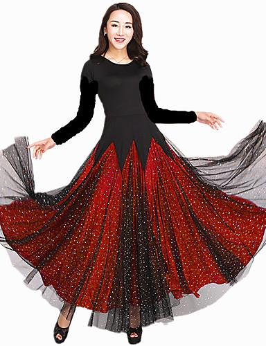 levne Shall We®-Standardní tance Šaty Dámské Výkon Süt Filtresi Roztroušené křišťálky / Krajka / Volány Dlouhý rukáv Přírodní Šaty