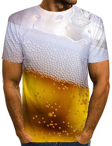 cheap Top Sellers-Men's Graphic Beer Print Slim T-shirt Basic Daily Weekend Round Neck Gold / Summer / Short Sleeve