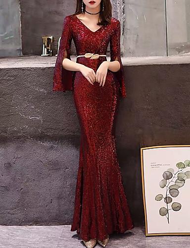 levne Maxi šaty-Dámské Elegantní Mořská panna Šaty - Jednobarevné, Vystřižený Rozparek Maxi
