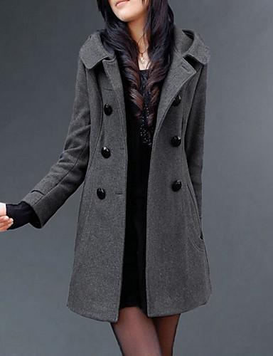 preiswerte Damenbekleidung Ausverkauf-Damen Alltag Lang Mantel, Solide Mit Kapuze Langarm Polyester Schwarz / Grau