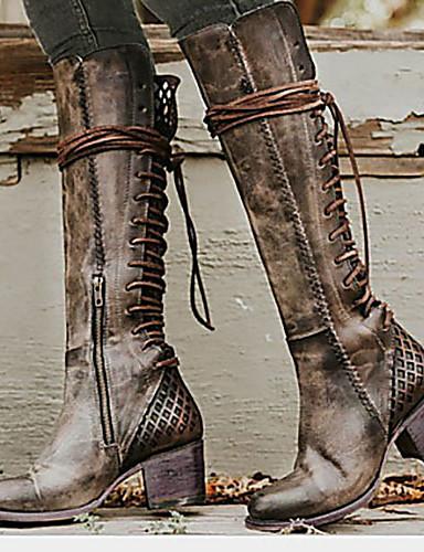 preiswerte Elegante Absatzschuhe & Stiefel-Damen Stiefel Komfort Schuhe Niedriger Heel Runde Zehe PU Mittelhohe Stiefel Herbst Winter Braun / Grau