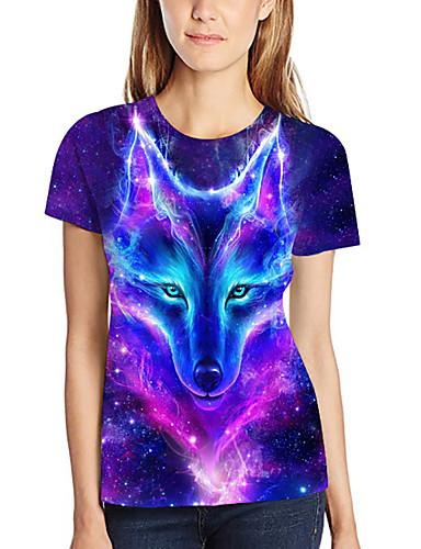 billige T-skjorter til damer-T-skjorte Dame - Galakse / 3D / Dyr, Trykt mønster Grunnleggende / overdrevet Ulv Lilla