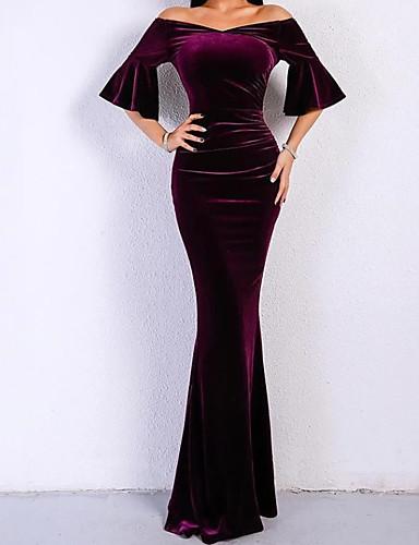 זול שמלות לאירועים מיוחדים-מעטפת \ עמוד אלגנטית ערב רישמי שמלה סירה מתחת לכתפיים חצי שרוול עד הריצפה קטיפה עם 2020