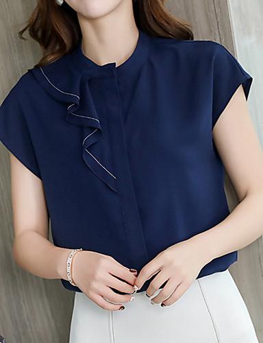 billige Dametopper-T-skjorte Dame - Ensfarget, Drapering Forretning / Grunnleggende Hvit