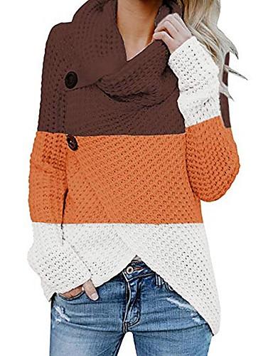 billige Dametopper-Dame Fargeblokk Langermet Pullover Genserjumper, Brettelig Krage / Rullekrage / Asymmetrisk Høst / Vinter Svart / Lyseblå / Brun S / M / L