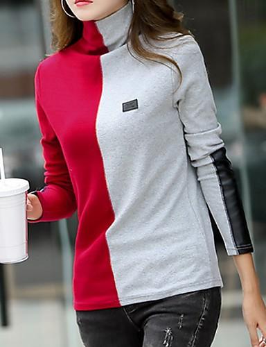 billige Dametopper-T-skjorte Dame - Fargeblokk Rød