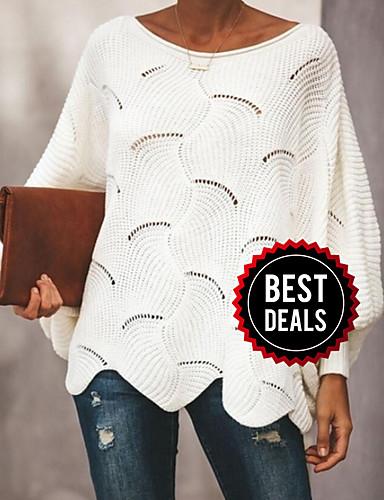 preiswerte Modische Damenbekleidung-Damen Solide Langarm Aufflackern-Hülsen- Pullover Pullover Jumper, Rundhalsausschnitt Frühling / Herbst Schwarz / Weiß / Rosa S / M / L