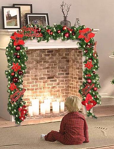 billige Juletrær & kranser-1set juletre Julelys Varm hvit Julepynt 220-240 V Jul