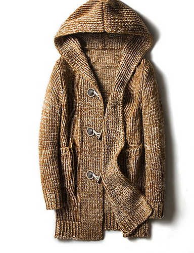 preiswerte Modische Pullover-Damen Solide Langarm Strickjacke Pullover Jumper, Mit Kapuze Wein / Grau / Khaki M / L / XL