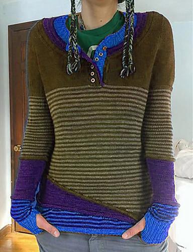 Dame Stripet / Fargeblokk Langermet Pullover Genserjumper, V-hals Lilla / Gul / Blå S / M / L