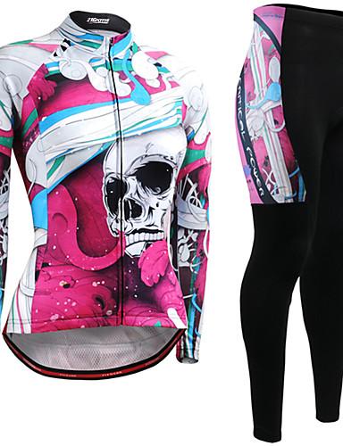 povoljno Odjeća za vožnju biciklom-21Grams Žene Dugih rukava Biciklistička majica s tajicama Pink / Black Lubanje Bicikl Prozračnost Quick dry Zima Sportski Lubanje Brdski biciklizam biciklom na cesti Odjeća / Mikroelastično