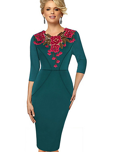 levne Pracovní šaty-Dámské Elegantní Pouzdro Šaty - Květinový Délka ke kolenům