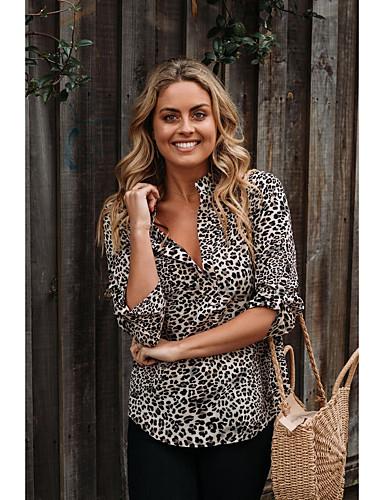 billige Dametopper-Skjorte Dame - Leopard, Trykt mønster Grunnleggende Lyseblå